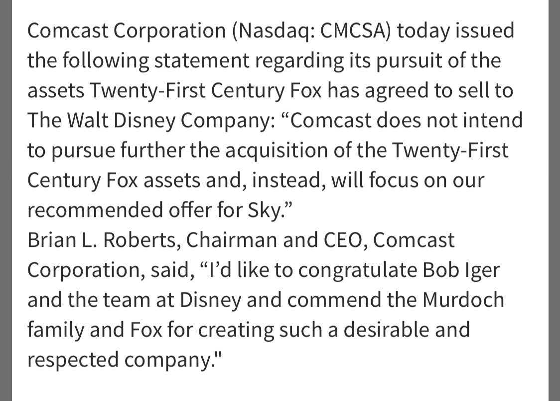 BREAKING: Comcast says it is dropping its pursuit of Twenty-First Century Fox's assets, focusing on Sky bid https://t.co/okQsUzzGOm