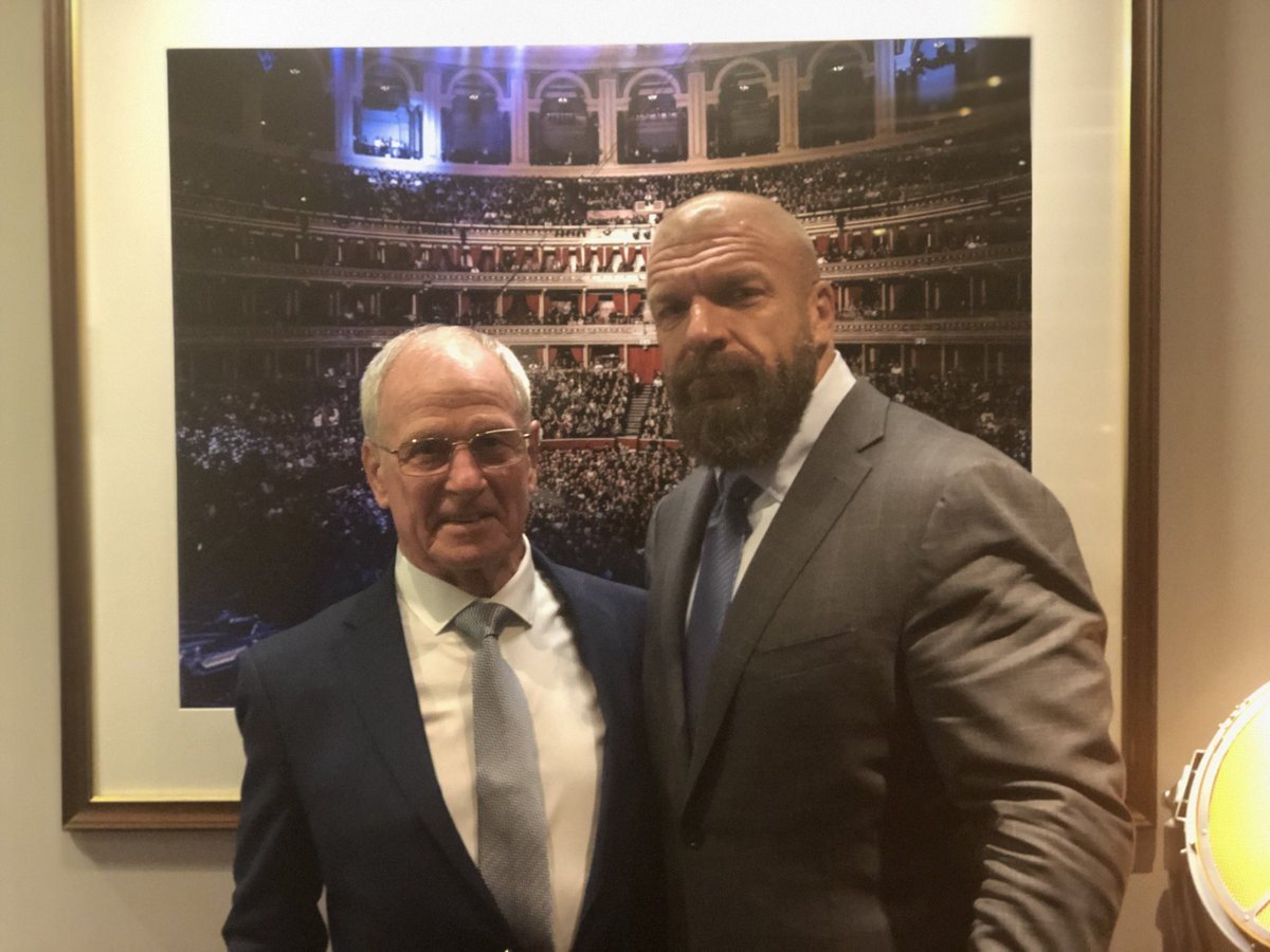 My first #TBT opportunity. Why not? Here is a shot of @TripleH and I backstage after my first night as #NXTUK GM. #DreamJob