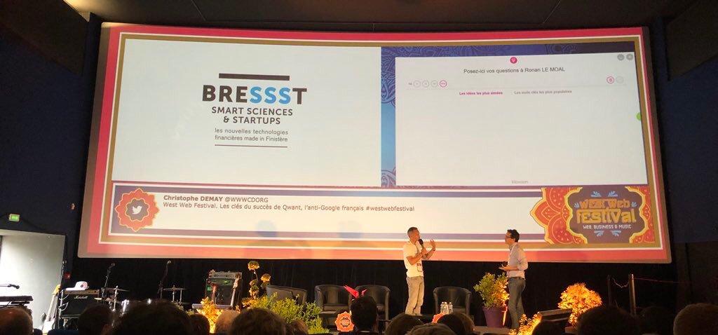 Lancement du projet #BreSSSt par @ronanLM DG du @cmarkea au #Westwebfestival BreSSSt a pour vocation d'accompagner les startups dans la durée sur les territoires.