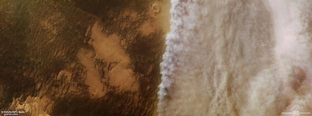 Can't help imagining that this is what that Mad Max: Fury Road scene would have looked like from above. (First image: Mad Max; second image: actual Mars)