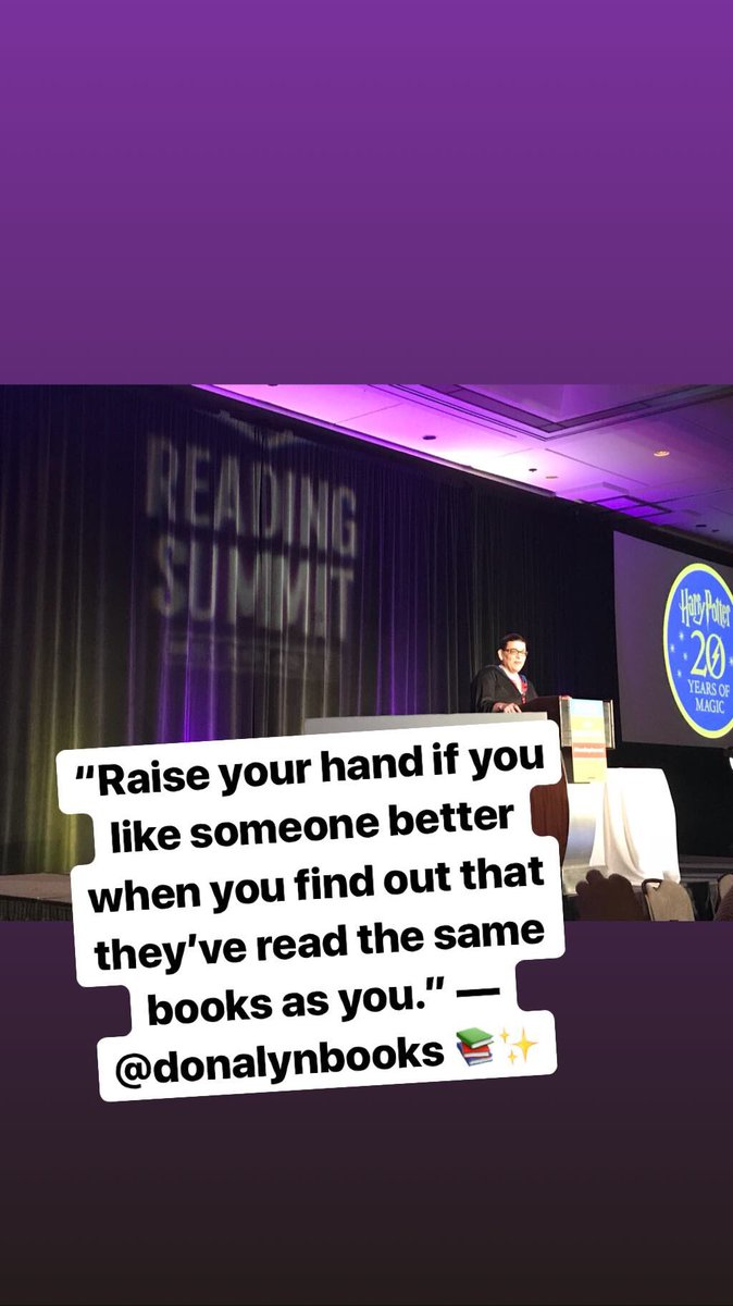 """""""Raise your hand if you like someone better when you find out that they've read the same books as you."""" — @donalynbooks #ReadingSummit <br>http://pic.twitter.com/JWGKKOaEK7"""