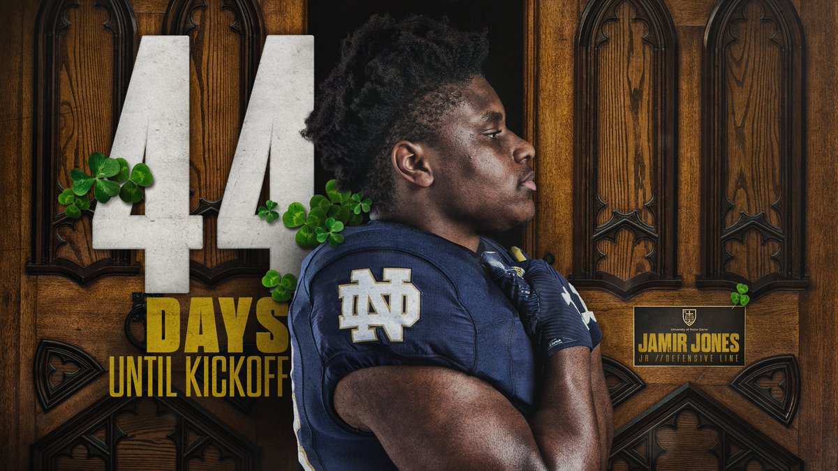 Only 4️⃣4️⃣ more days until @JJammer44 takes the field. #GoIrish ☘