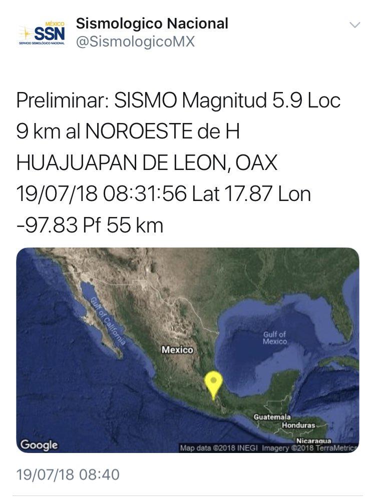 El @SismologicoMX informa que la magnitud preliminar del #Sismo de esta mañana fue de 5.9