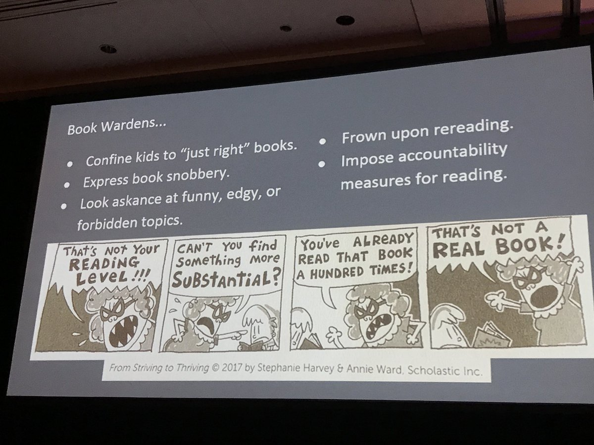 """Ways that educators become """"book wardens"""" who restrict reading and undermine reading ownership and choice. @AnnieTWard #readingsummit <br>http://pic.twitter.com/TFWB9A7CAn"""