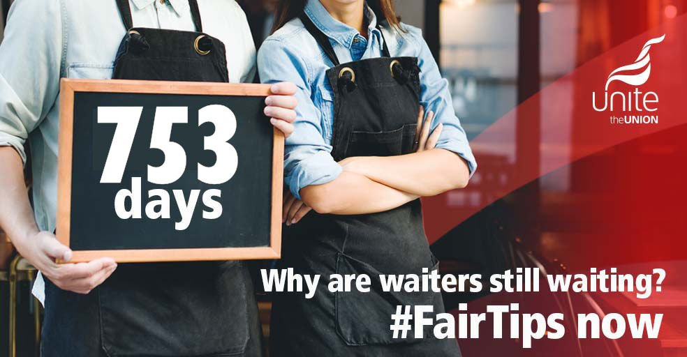Got that #FridayFeeling and ready for a nice lunch? Take our #FairTips checklist, tip staff & demand an end to the wait for #FairTips – staff have been waiting over TWO YEARS for the government to act - Demand #FairTips NOW unitetheunion.org/fairtips
