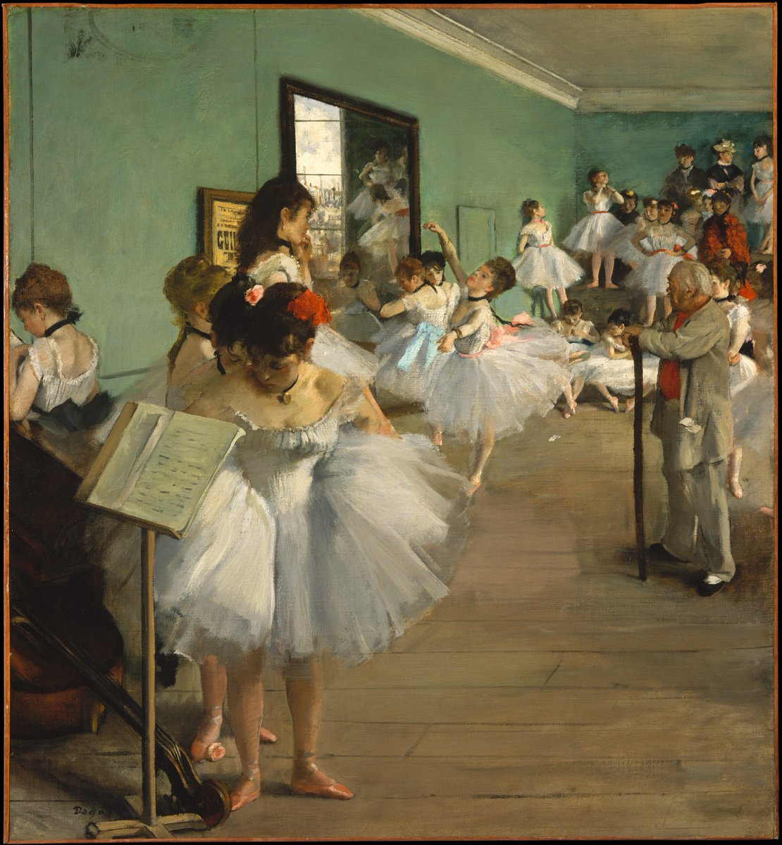Edgar Degas was born on this day in 1834. This work, 'The Dance Class,' and its variant in the Musée d'Orsay, Paris, represent the most ambitious paintings #Degas devoted to the theme of the dance. https://t.co/qcR2jvW92S