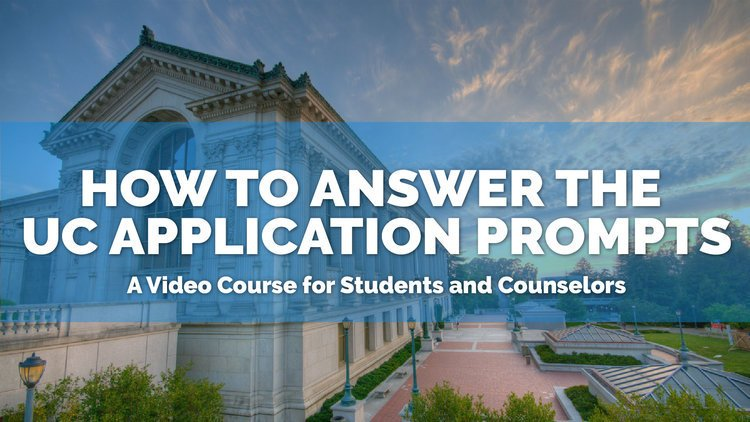 Are you applying to the University of California schools? Are you looking for guidance and feedback on which personal insight questions to choose—and what topics to write about? Check out my online course, on demand: goo.gl/b8mJ6F