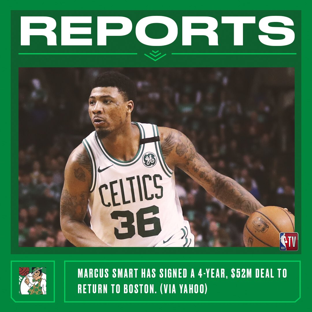 Reports: Marcus Smart has agreed to a 4-year deal to remain in Boston. (Via Yahoo)