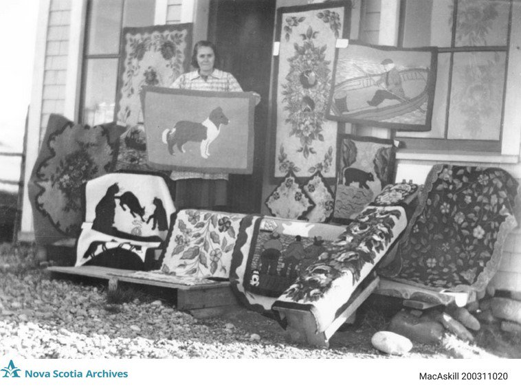 Nova Scotia Archives On Twitter Rug Hooking Using Photo As Pattern Examples In Background Of Work Undated