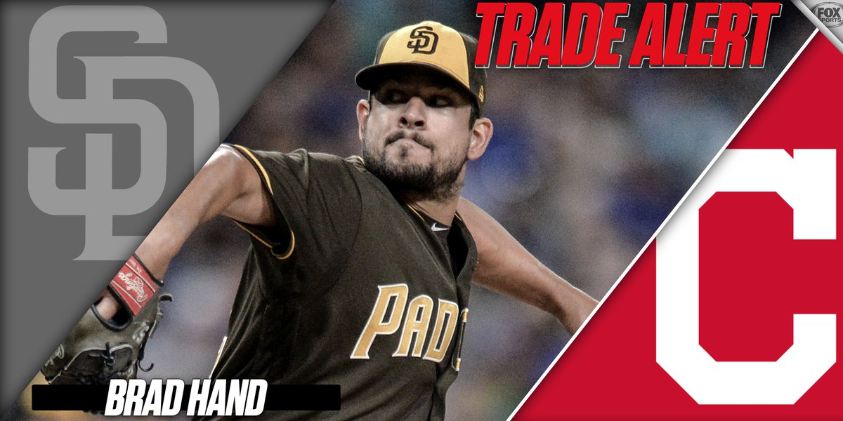 JUST IN: the Indians have acquired All-Star reliever Brad Hand from the Padres   via @Ken_Rosenthal & @RobertMurrayFRS