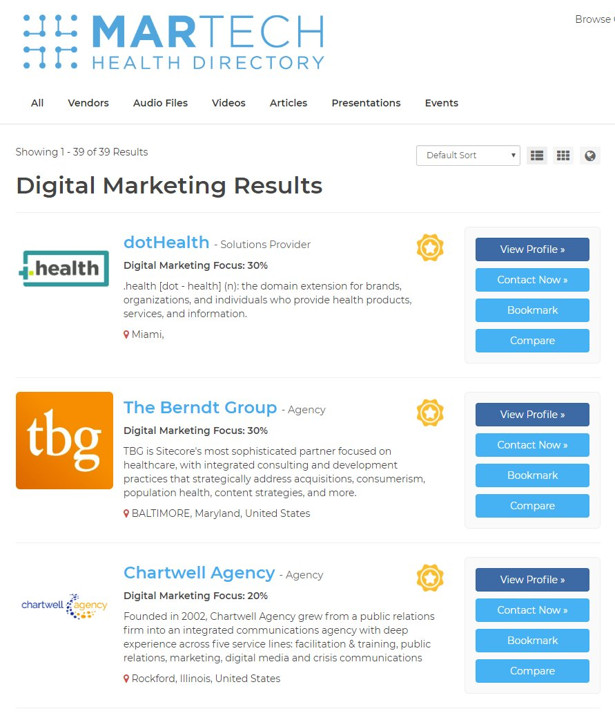 Looking for Digital Marketing Vendors with healthcare experience? The https://t.co/uCGZn4laGh Vendor Directory has you covered with 39 firms including:  @MERGE_atlanta @dot_health @berndtgroup @ndpagency and @MedTouch   Complete list at https://t.co/dNhGrpXvIF