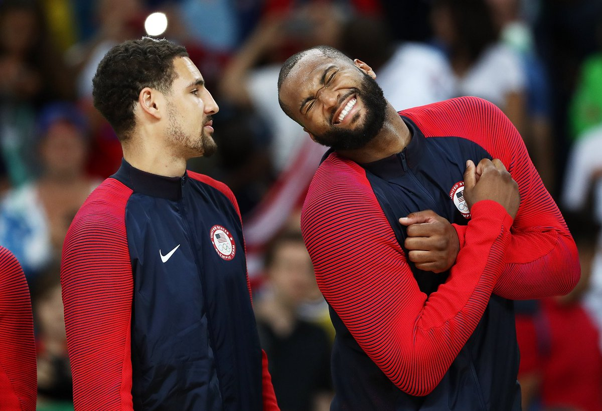 .@boogiecousins on his new teammates: Just to put this out there, my favorite by far is Klay...For him to be as dull as he is, there's never a dull moment.