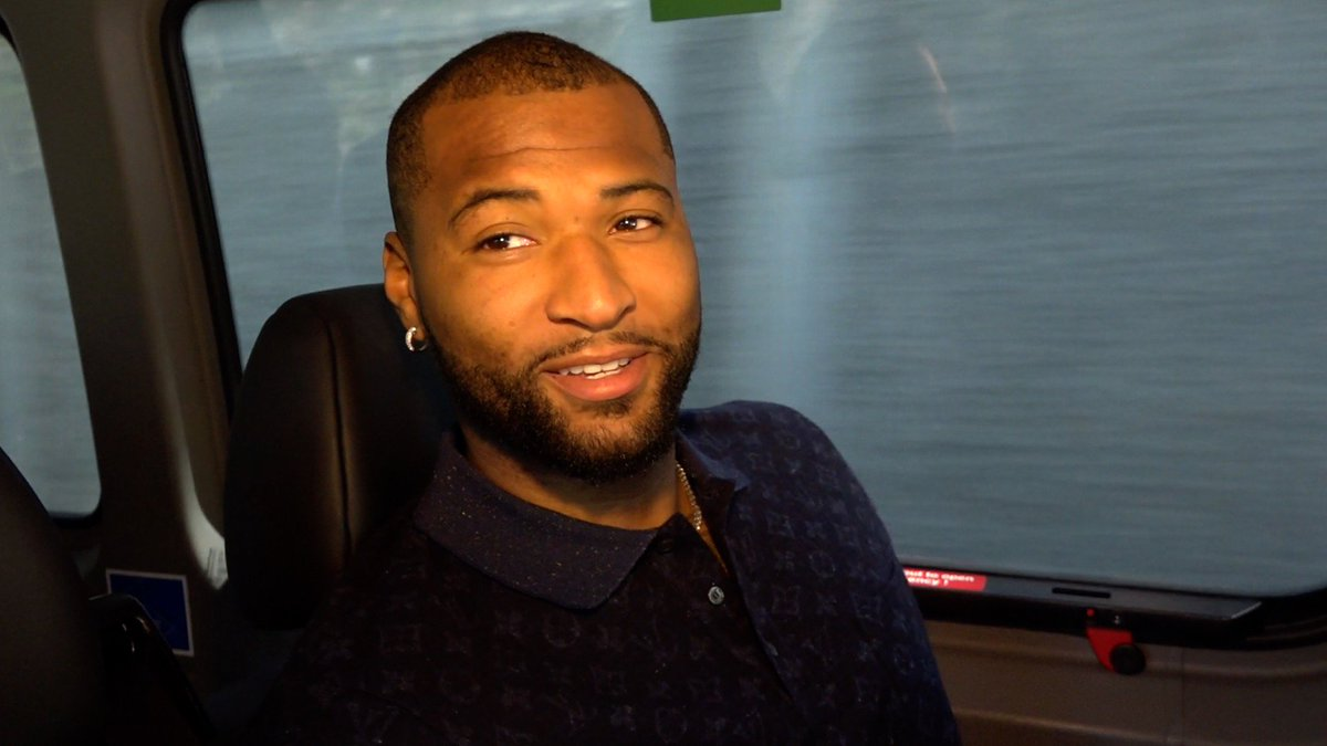 🗣️ Riding along with @boogiecousins on his way to Dubs HQ for his first time as a Warrior.