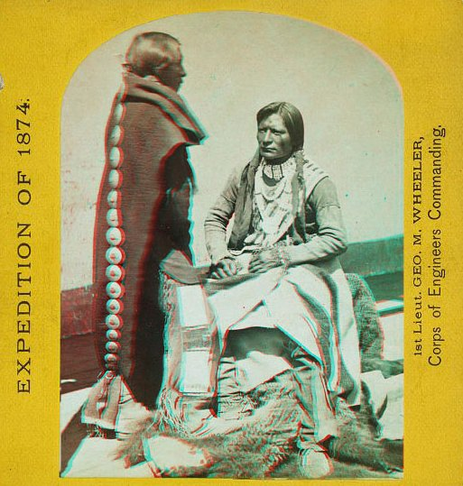 """Ute Braves, of the Kah-poh-teh band, Northern NM, in """"full dress.' Check out a 3D image tour of early photography of Native Americans taken during the U.S. Geological & Geographical Surveys West of the 100th Meridian/Powell Survey of Colorado River  https://t.co/0MqB4SP3Yk#tbt"""