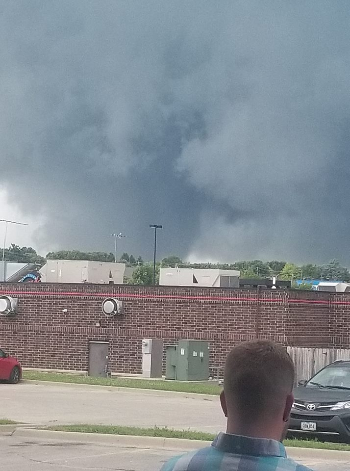 A photo of the tornado in #Marshalltown from Chris Mosher. Reports of lots of damage as a result.   #iawx #wx