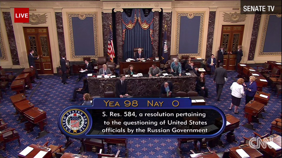 The Senate votes 98-0 to oppose a Putin proposal that would interrogate US officials. Just ahead of the vote, the White House said Trump 'disagrees' with the idea. https://t.co/JWhWgDMWzt