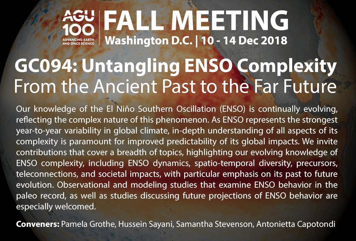 Studying ENSO? Check out our ENSO session at #AGU18! Looking forward to reading those abstracts!
