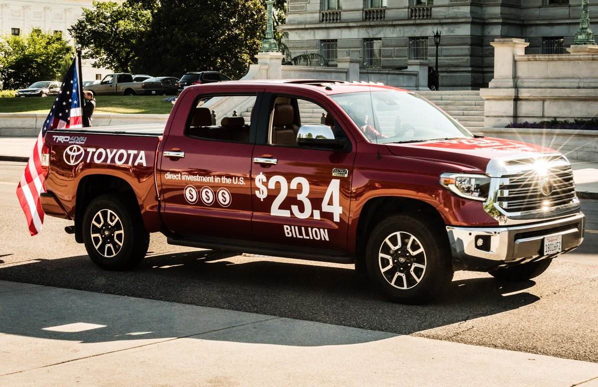 1.2 million+ vehicles were built in the U.S. in 2017, but #tariffs threaten American jobs & increase costs of vehicles sold. If tariffs are imposed, we estimate the cost of the KY-built Camry will increase by $1,800, the TX-built Tundra by $2,800 & the IN-built Sienna by $3,000