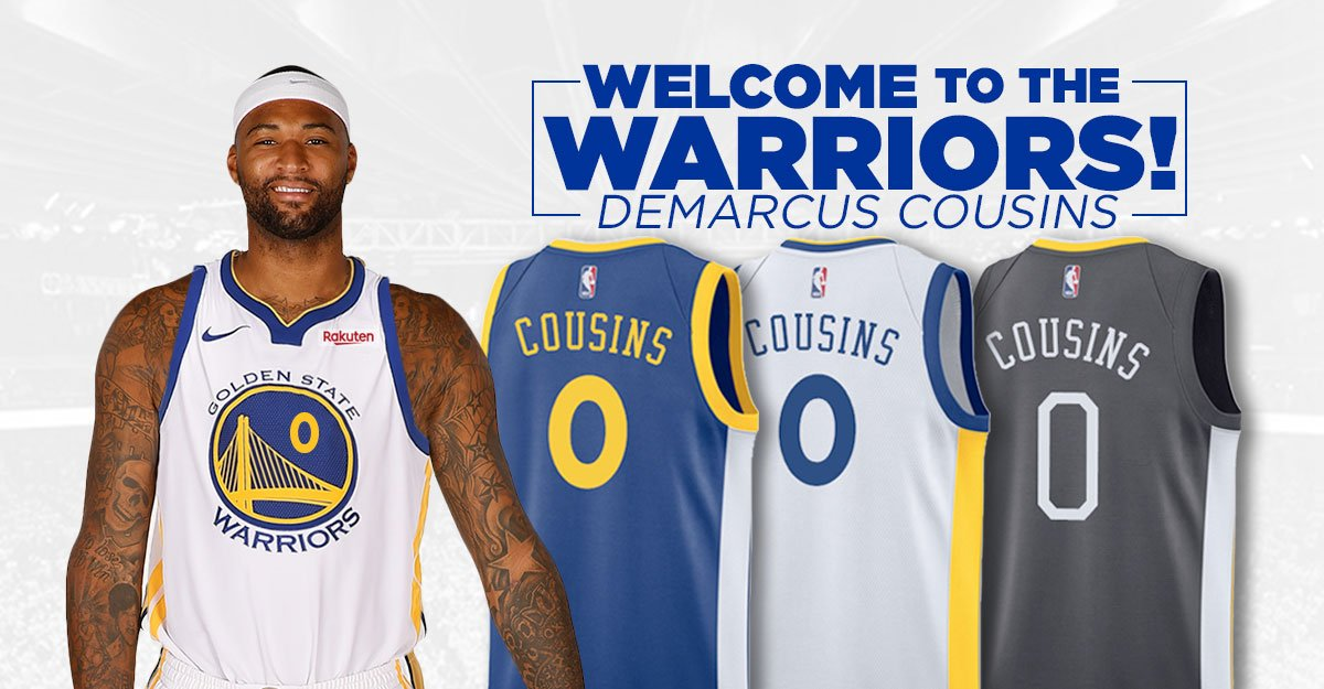 #DubNation, Join us in Welcoming @boogiecousins to the @warriors 🏀 Order his #Official #GoldenState Jersey today 🎉 🛒-–>bit.ly/DubsCousins