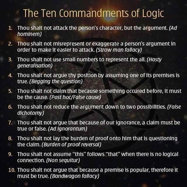 The Ten Commandments of Logic