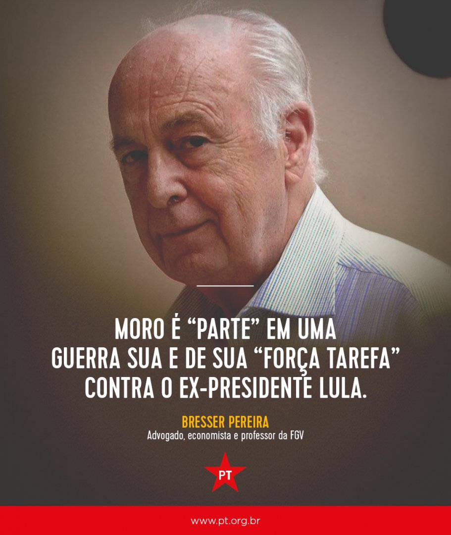 Em artigo publicado em sua página pessoal, @BresserPereira, um dos fundadores do PSDB, fala sobre a postura parcial e política do juiz Sérgio Moro contra o ex-presidente @LulapeloBrasil.  Leia na íntegra 👉🏿👉https://t.co/8rd39FoCHc🏿👉🏿