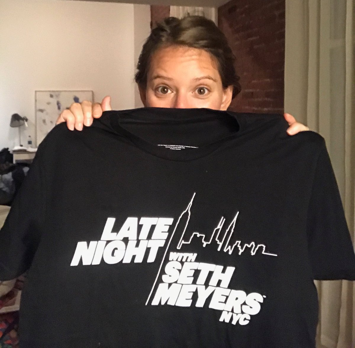 I've got a new sleep shirt for my late night TV viewing and it's oh so appropriate for tonight. 1230 #LNSM