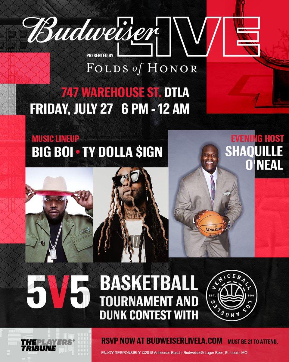 DTLA - @budweiserusa 5v5 tournament on 7/27! 🏀 RSVP: budweiserlivela.com @SHAQ @BigBoi #thisbudsforyou