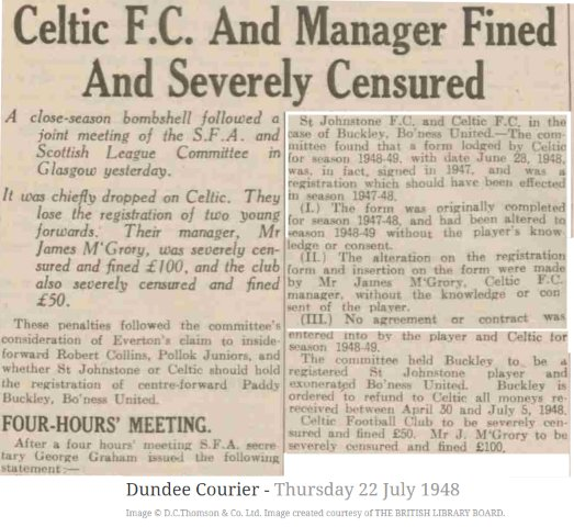 On this day in 1948, The SFA find in favour of St Johnstone in the case of Paddy Buckleys registration. The centre-forward went on to score 105 goals in 4 seasons with Saints.