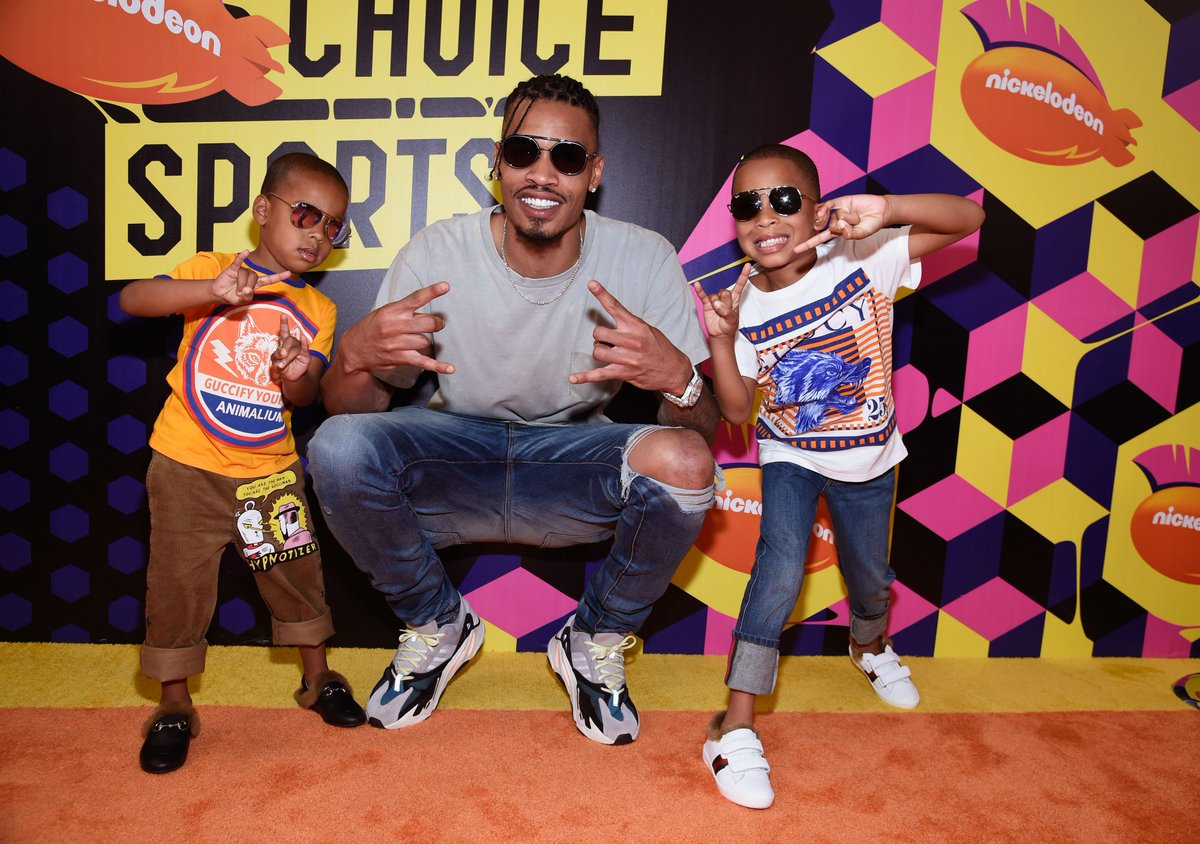 #SoleWatch: Rockets' Gerald Green with his boys in Yeezy Wave Runner at Nickelodeon #KidsChoiceSports