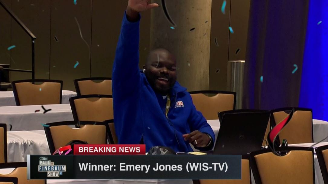 It&#39;s over!   @EmeryGlover17 wins last sports reporter standing at #SECMD18 while runner-up @RabalaisAdv shows class in defeat on his way out the door.<br>http://pic.twitter.com/PTivN8DhMJ