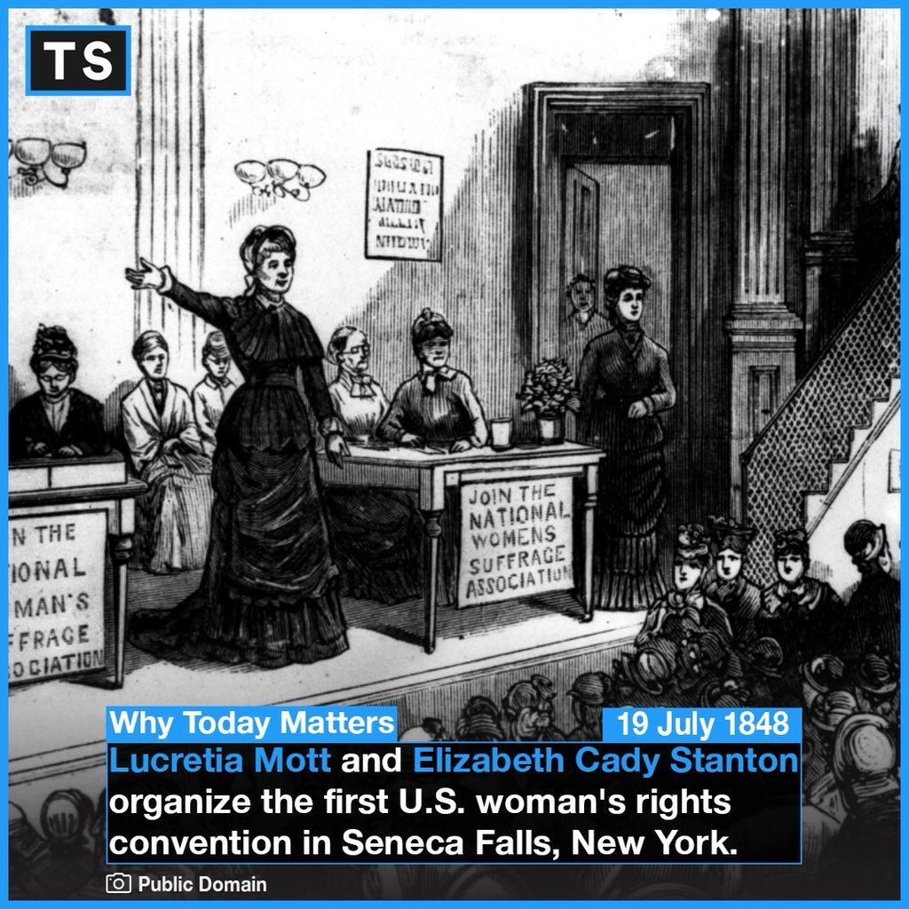 170 years ago #OTD the Seneca Falls Convention took place. On the first day (for women only), more than 200 women attended. The next day featured 40 men, including the prominent abolitionist Frederick Douglas. #History #trivia #women #womenrights #Iconic #WhyTodayMatters