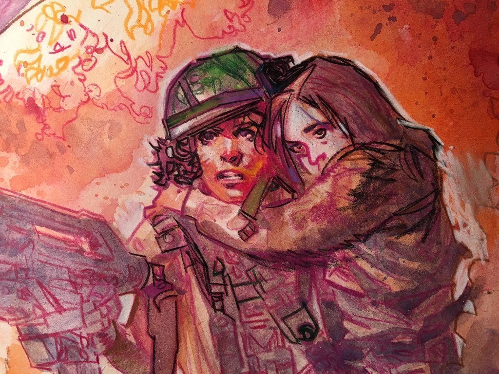#Aliens commission/ part 1... Watercolor & prismacolor  #theymostlycomeatnight