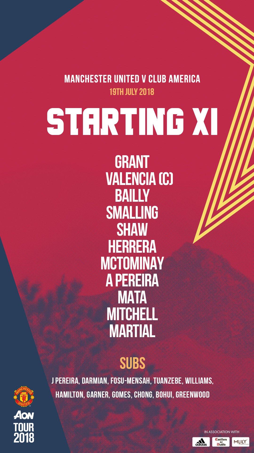 Starting XI vs Club America: Grant, Valencia, Bailly, Smalling, Shaw, Herrera, McTominay, Pereira, Mata, Mitchell, Martial