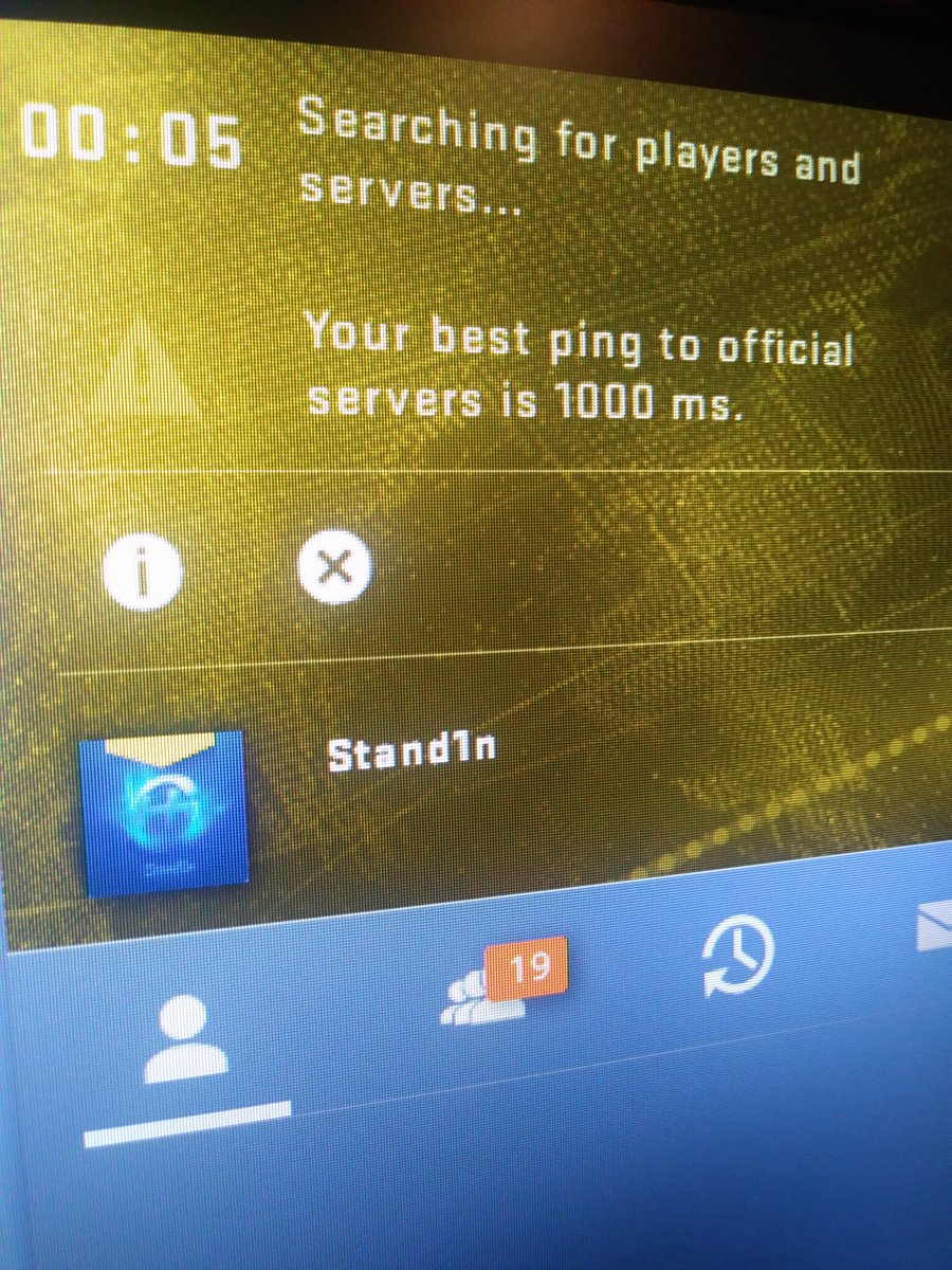 your best ping to official servers is 1000