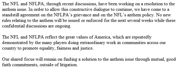 The Nflnflpa Release A Joint Statement On Anthem Protests We Have