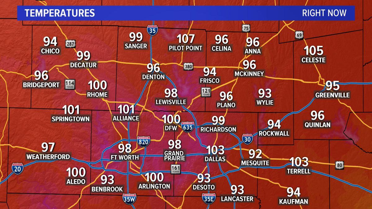 Don't mind us here in Dallas... we're just still at 103° at 9:30 #dfwwx #wfaaweather