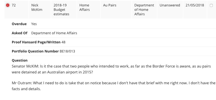 Surprisingly a lot of Home Affairs #estimates questions from May have been answered (they're usually super slow). This one, however.