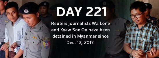 Two @Reuters journalists have been detained in Myanmar since Dec. 12, 2017. See our full coverage: https://t.co/AxIM6ejHzE