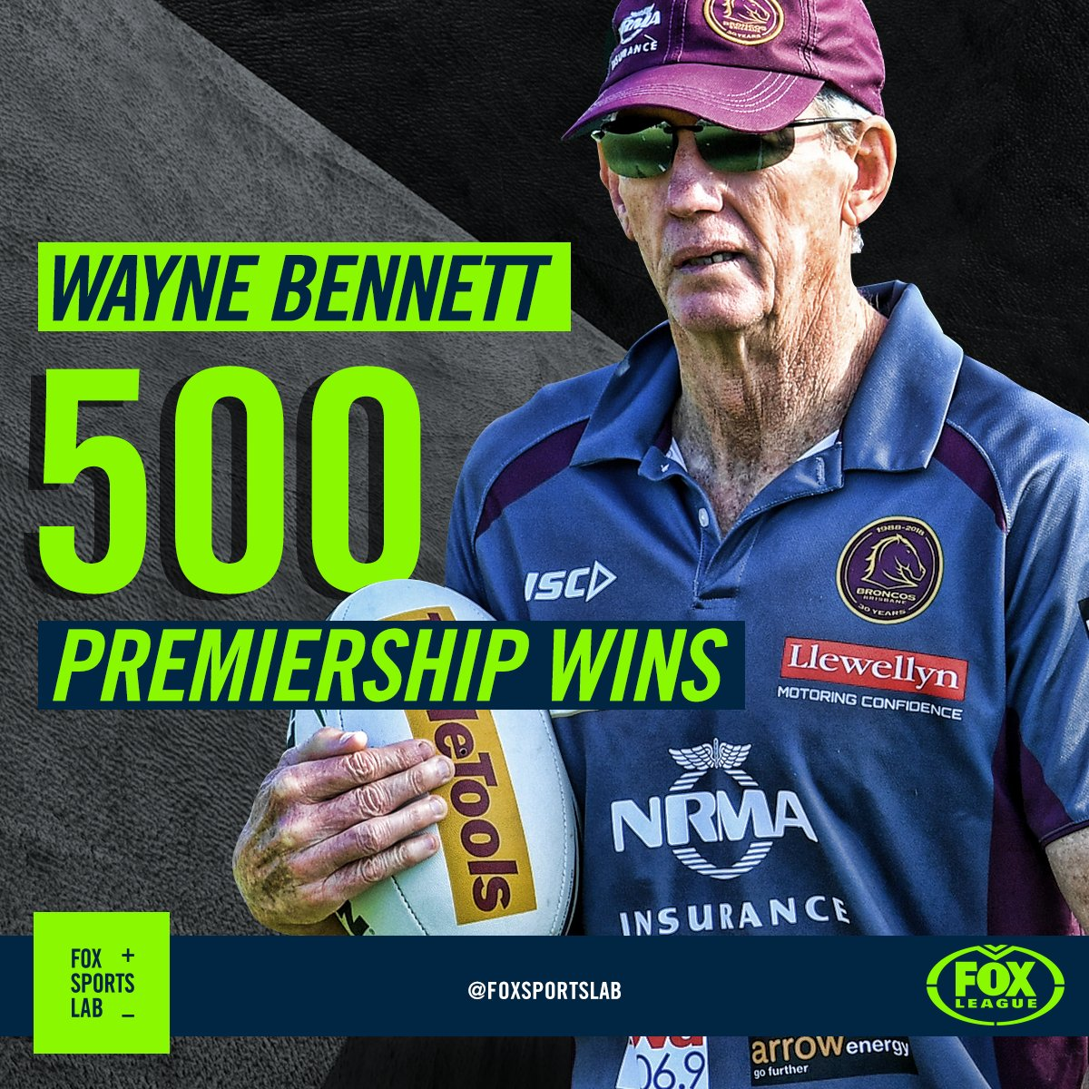 Congratulations to Wayne Bennett on his 500th win as coach in what was his 806th match. Only 34 current players were born when Bennett won his first match, including just two current Broncos (Sam Thaiday, Sam Tagataese). #NRLBroncosPanthers #Bronxnation #500