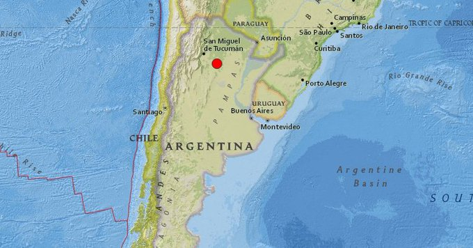El epicentro del temblor está localizado a una profundidad de 588 kilómetros Photo