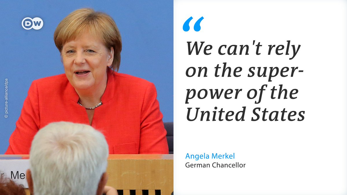 In the annual summer news conference, German Chancellor Merkel said she was right to say a year ago that Europe could no longer rely on the US to impose order on the world, and that it needed to take matters close to home into its own hands.