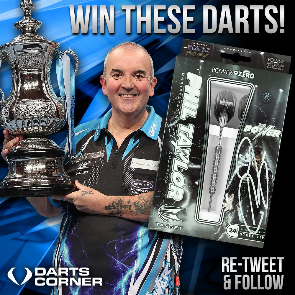 So to win these Fantastic @TargetDarts darts Signed by @PhilTaylor ( Matchplay Legend ) all you have to do is R/T and Follow @DartsCorner and one lucky person will receive the signed set of darts. #Matchplay2018 #freecomp #FridayFeeling