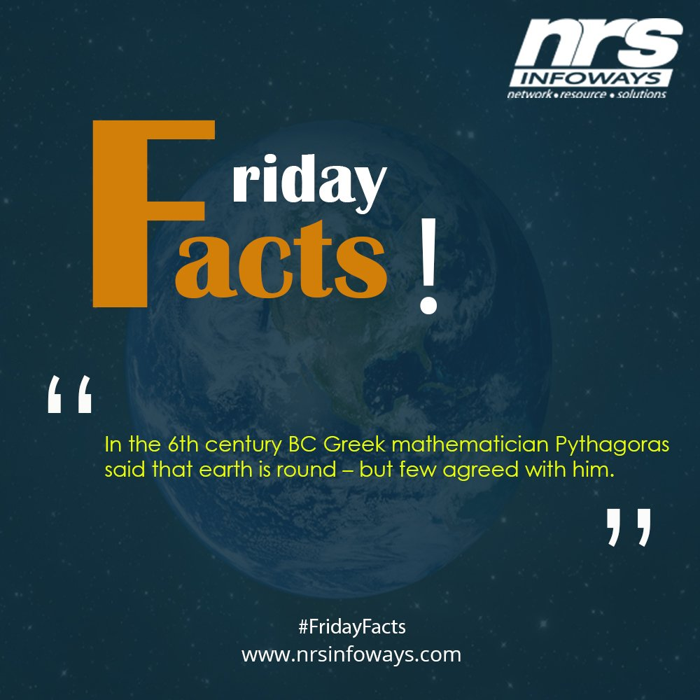 In the 6th century BC #GreekMathematician Pythagoras said that @earth is round – but few agreed with him. #FridayFacts #Pythagoras #mathematic #NRSinfoways @nrsinfoways https://www.nrsinfoways.com pic.twitter.com/1rNrtItM9l