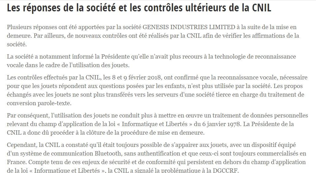 Cnil On Twitter Jouets Connectes Cloture De La Procedure De Mise