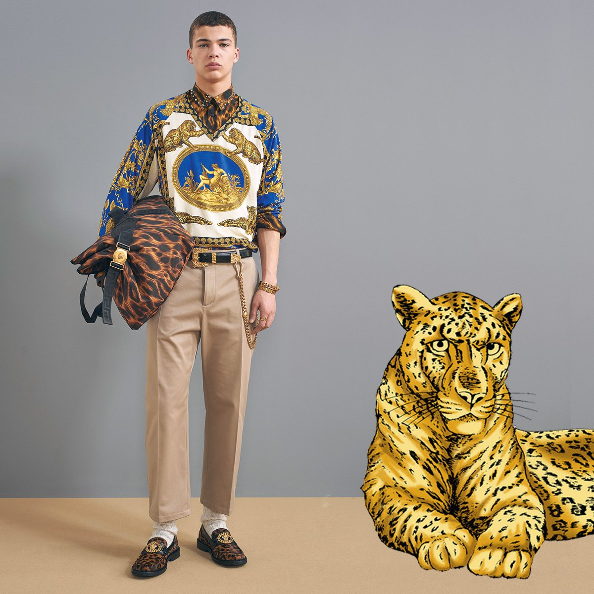 Roaring in maximalism, always.  Find the new #VersacePreFall18 prints for him now: https://t.co/NoSI7cBtKP