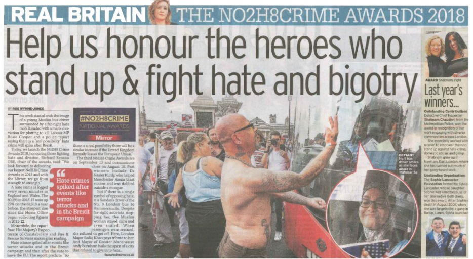 Communities countering hatred together >> Help @realbritainros and @DailyMirror honour the heroes who stand up against bigotry for the #No2H8 Crime Awards 2018 mirror.co.uk/news/uk-news/n… via @No2H8Crime