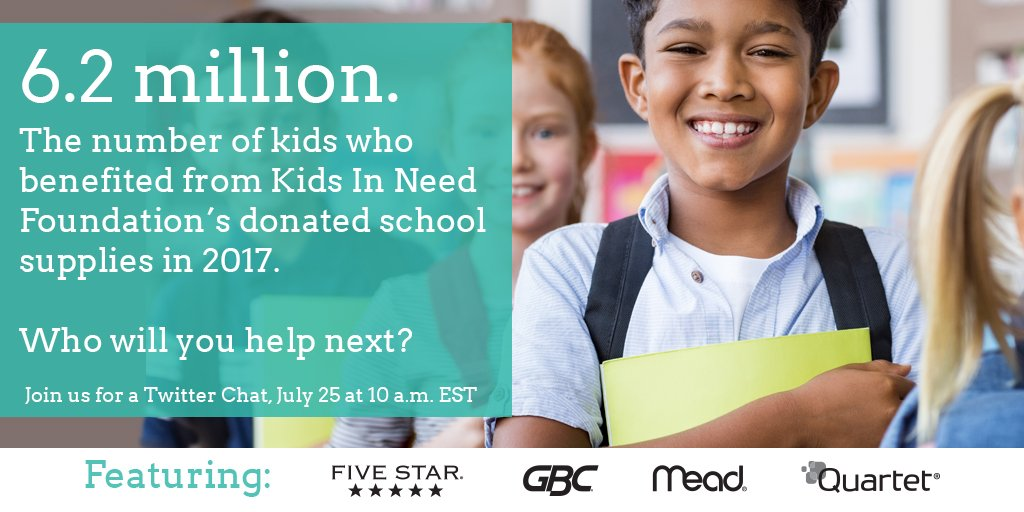 This back to school season, give to those who need it most. Join us, @KidsInNeed, @MeadFiveStar & @Quartet for a Twitter chat on 7/25 at 10 AM EST to find out #HowMuch you can make an impact on a student's life. https://t.co/sbMDIfLrhT
