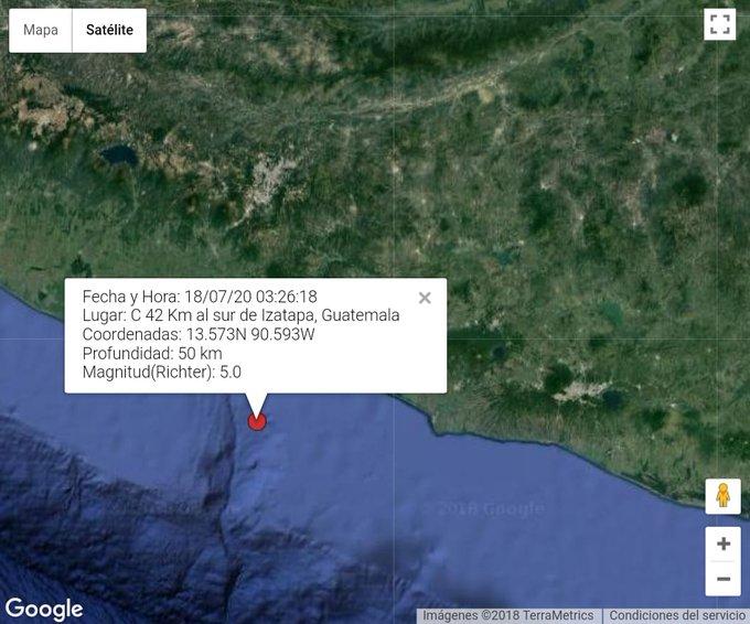 TEMBLOR A las 3:26 horas fue sensible un sismo de Magnitud (preliminar) con epicentro a 42 km al Sur de Iztapa, costas del Pacífico de Guatemala. El temblor fue sensible del Sur al Centro del país. Sin reporte de daños al momento. Vía. @ConredGuatemala Photo