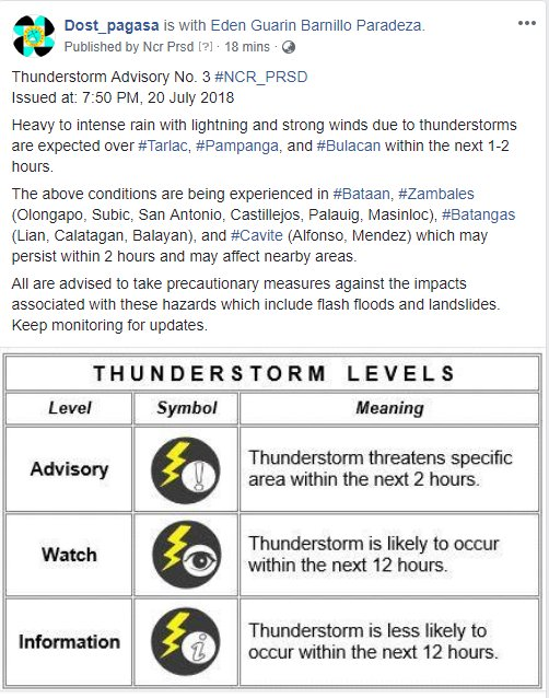 Thunderstorm Advisory No. 3 #NCR_PRSD Issued at: 7:50 PM, 20 July 2018