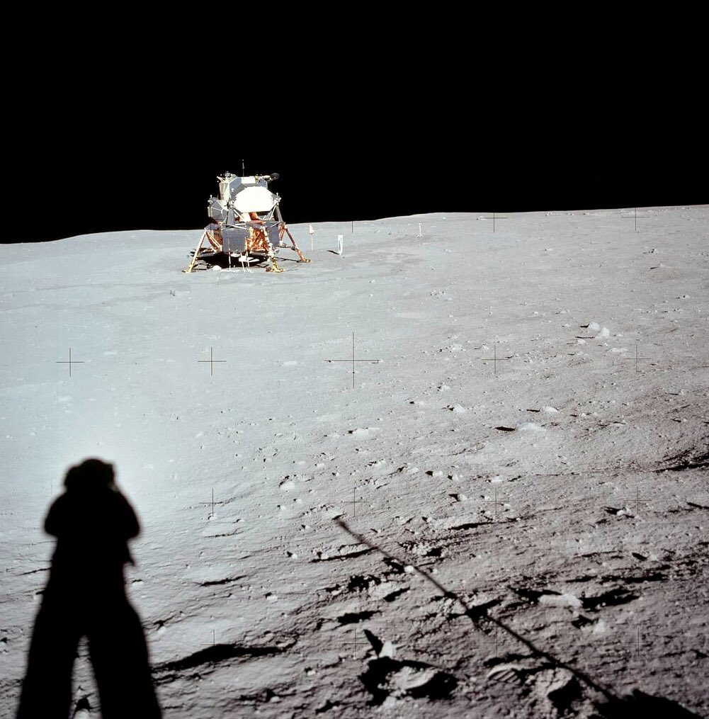 Apollo 11 lunar module on moon, photographed by Neil Armstrong after landing 49 years ago:                              #NASA